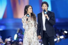 Actors Nikki Reed (L) and Ian Somerhalder speak onstage at WE Day California 2016 at The Forum on April 7, 2016 in Inglewood, California.