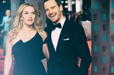 This image was created using digital filters) Kate Winslet and Michael Fassbender attend the EE British Academy Film Awards at The Royal Opera House on February 14, 2016 in London, England.