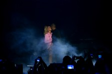 Beyonce (L) and Jay-Z perform onstage during TIDAL X: 1020 Amplified by HTC at Barclays Center of Brooklyn on October 20, 2015 in New York City.