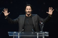 Actor Keanu Reeves accepts the Vanguard Award during the CinemaCon Big Screen Achievement Awards brought to you by the Coca-Cola Company at The Colosseum at Caesars Palace during CinemaCon, the official convention of the National Association of Theatre Ow