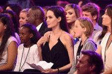 (L-R) Zahara Marley Jolie-Pitt, actress Angelina Jolie and Shiloh Nouvel Jolie-Pitt in the audience during Nickelodeon's 28th Annual Kids' Choice Awards held at The Forum on March 28, 2015 in Inglewood, California.
