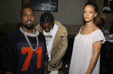Kanye West, Travis Scott and Rihanna attend Vogue 95th Anniversary Party on October 3, 2015 in Paris, France