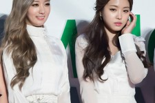 Yoon Bomi (L) and Son Naeun (R) from girl group Apink at the 2014 Melon Music Awards red carpet on Nov. 13,  2014.