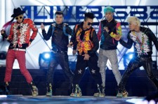 Big Bang perform on the stage during a concert at the K-Collection In Seoul on March 11, 2012 in Seoul, South Korea.