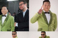 Psy Reveals Green Suit Photos from Super Bowl Commercial Filming