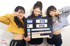 The first members of new girl group Lip Bubble promoting their social media.