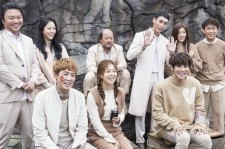 "The nine cast members of the drama ""Missing Nine"" during shooting break."