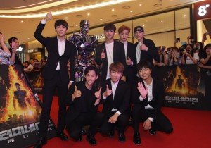 BtoB pose during the Seoul Premiere of 'Terminator Genisys' at the Lotte World Tower Mall on July 2, 2015 in Seoul, South Korea.