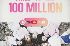 Poster from TWICE agency JYP Entertainment to celebrate the 100 million views of their music video