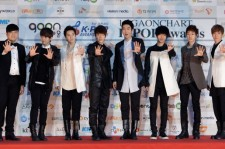 Super Junior arrive during the 1st Gaon Chart K-POP Awards at Blue Square on February 22, 2012 in Seoul, South Korea.