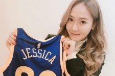 Jessica with Stephen Curry's gift.