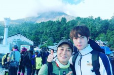 BTS' Jin poses alongside Kim Byung Man for 'Law of the Jungle' in Kota Manado.