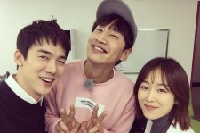Yoo Yeon Seok poses with co-star Seo Hyun Jin and their mutual friend, Lee Kwang Soo.
