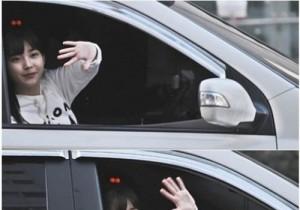 iu waving bye from car