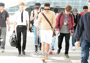 Airport Style: Super Junior Casual Outfit with Hats Leaving for SUPER SHOW 5 In Jakarta, Indonesia