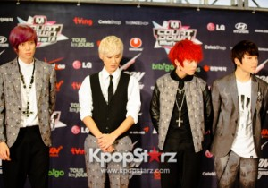 KCON 2013 Teen Top Rocks It With The Press at M! Countdown What's Up LA